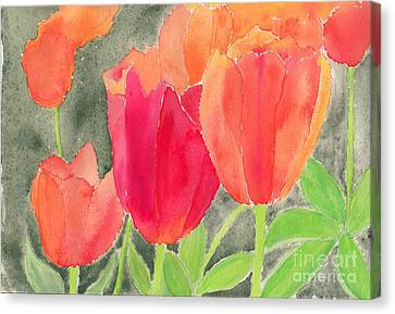 Orange And Red Tulips Canvas Print