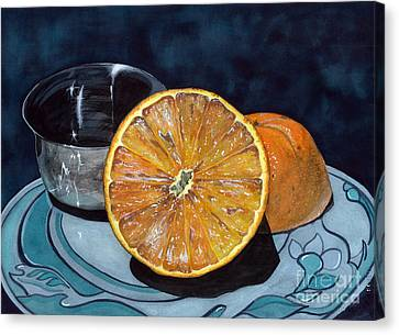 Canvas Print featuring the painting Orange And Silver by Barbara Jewell