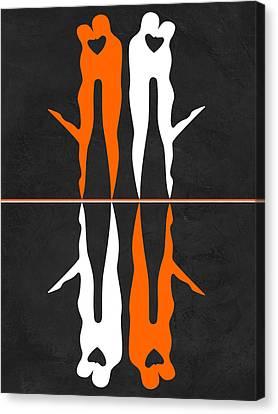 Making Canvas Print - Orange And White Kiss by Naxart Studio