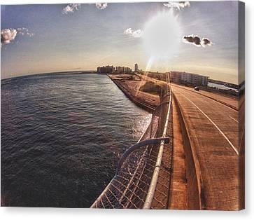Canvas Print featuring the digital art Orange Beach From Perdido Bridge by Michael Thomas