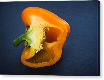 Orange Bell Pepper Blue Texture Canvas Print