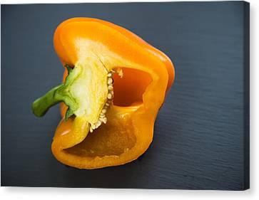 Orange Bell Pepper Cut In Half Canvas Print