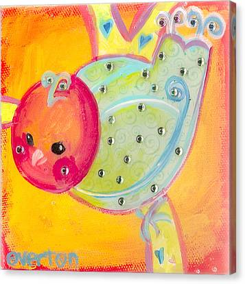 Orange Birdy Canvas Print by Shelley Overton