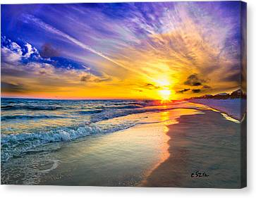 Orange Blue Saturated Sunset-pensacola Beach-bright Sun Canvas Print by Eszra Tanner