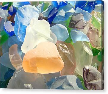 Orange Blue Seaglass Art Prints Decorative Sea Glass Canvas Print by Baslee Troutman