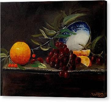 Orange Bowl Grapes Branch Canvas Print