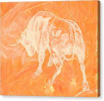Orange Bull Negative Canvas Print