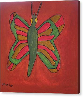 Canvas Print featuring the painting Orange Butterfly by Artists With Autism Inc