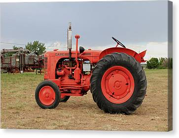 Orange Case Tractor Canvas Print
