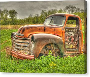 Orange Chevy Canvas Print by Thomas Young