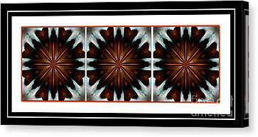 Orange Chocolate Trio - Kaleidoscope - Triptych Canvas Print by Barbara Griffin