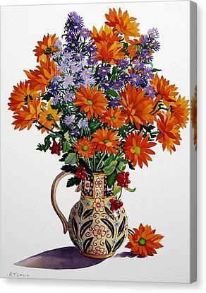 Orange Chrysanthemums Canvas Print by Christopher Ryland