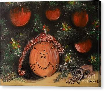Canvas Print featuring the painting Orange Clover Christmas by Laurie Lundquist
