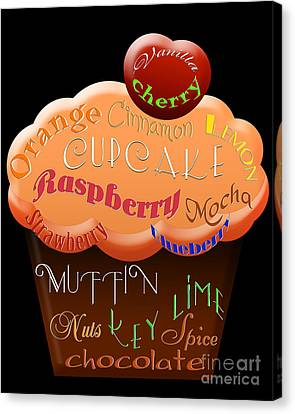 Orange Cupcake Typography Canvas Print