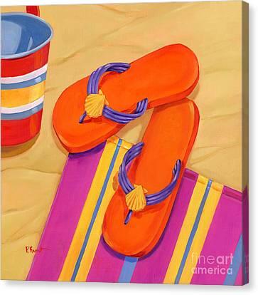 Beach Pails Canvas Print - Orange Flip Flops by Paul Brent