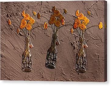 Orange Flowers Embedded In Adobe Canvas Print