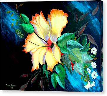Canvas Print featuring the painting Orange Hibiscus by Fram Cama