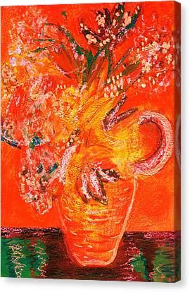Orange Impressionistic Vase Of Flowers Canvas Print by Anne-Elizabeth Whiteway