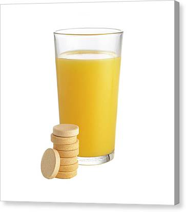 Orange Juice And Vitamin C Tablets Canvas Print by Science Photo Library