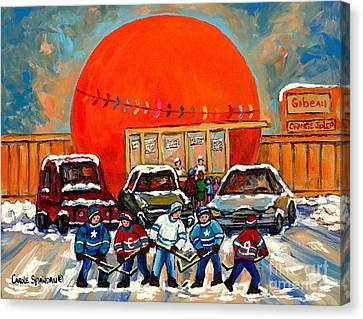 Hot Hockey Game Cool Julep At Montreal's Roadside Attraction The Orange Julep By Carole Spandau Canvas Print