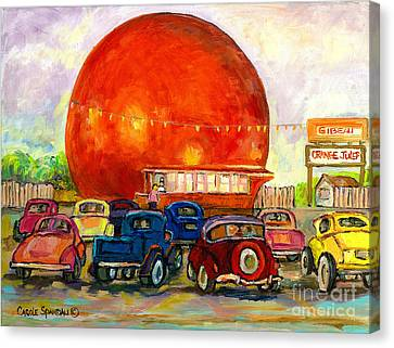 Orange Julep With Antique Cars Canvas Print