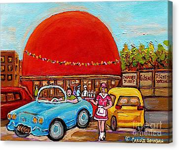 Orange Julep With Girl On Rollerblades Paintings Of Montreal Landmarks Diner Carole Spandau Canvas Print