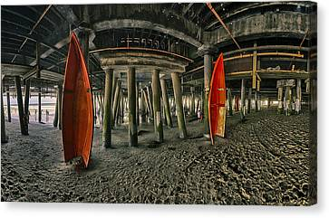 Orange Life Boats Under The Santa Monica Pier Canvas Print by Scott Campbell