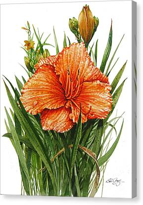 Canvas Print featuring the painting Orange Lily by Bob  George