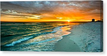 Orange Panoramic Sunset Canvas Print by Eszra Tanner