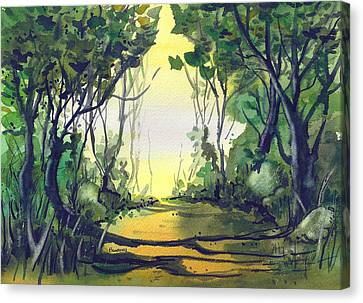 Canvas Print featuring the painting Orange Path by Terry Banderas