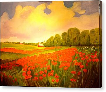 Canvas Print featuring the drawing Orange Popies by Joseph Hawkins