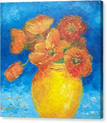 Orange Poppies In Yellow Vase Canvas Print by Jan Matson