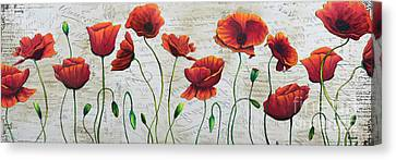 Orange Poppies Original Abstract Flower Painting By Megan Duncanson Canvas Print by Megan Duncanson