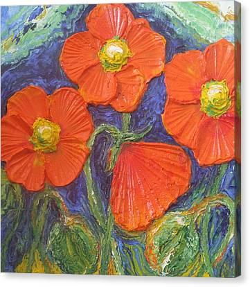 Orange Poppies Canvas Print by Paris Wyatt Llanso