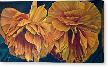 Canvas Print featuring the painting Orange Poppies by Ron Richard Baviello