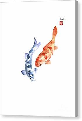Orange Red Blue Fish Pisces Koi Carp Zodiac Ocean Animal World Water Colors Watercolors Painting Canvas Print by Johana Szmerdt