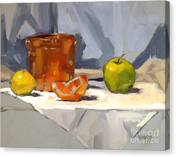 Canvas Print featuring the painting Orange Reflections by Nancy  Parsons
