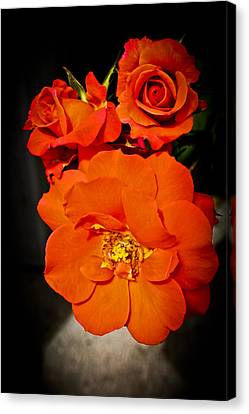 Canvas Print featuring the photograph Orange Rose Trio by Joann Copeland-Paul