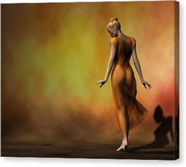 Canvas Print featuring the digital art Orange Strut by Kaylee Mason