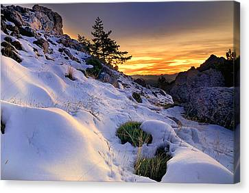 Orange Sunset At The Mountains Canvas Print by Guido Montanes Castillo