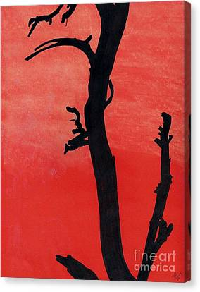 Canvas Print featuring the drawing Orange Sunset Silhouette Tree by D Hackett