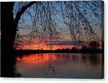 Canvas Print featuring the photograph Orange Sunset by Lynn Hopwood