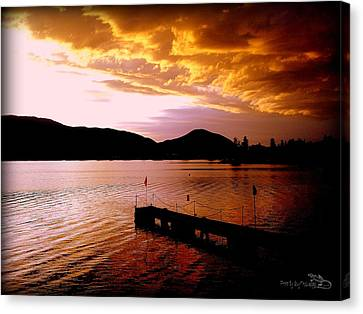 Canvas Print featuring the photograph Orange Sunset Skaha Lake by Guy Hoffman