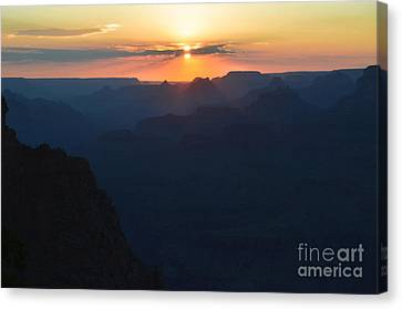 Orange Sunset Twilight Over Silhouetted Spires In Grand Canyon National Park Diffuse Glow Canvas Print