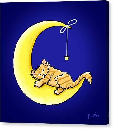 Orange Tabby Lunar Love Canvas Print by Kim Niles