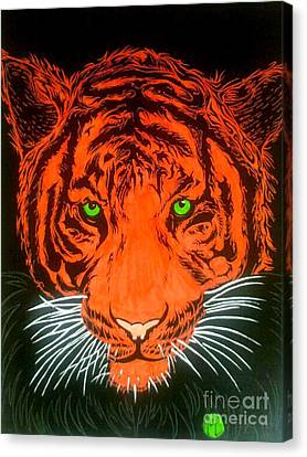 Canvas Print featuring the drawing Orange Tiger by Justin Moore