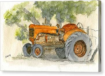 Orange Tractor Canvas Print
