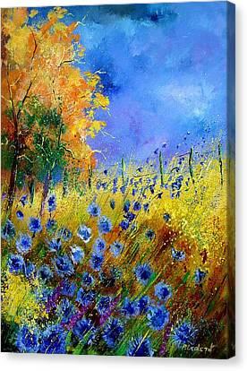 Orange Tree And Blue Cornflowers Canvas Print