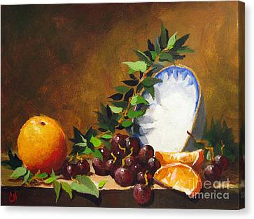 Canvas Print featuring the painting Orange With Bowl by Carol Hart