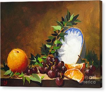 Orange With Bowl Canvas Print by Carol Hart